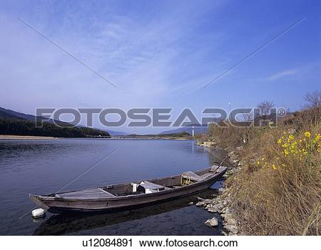 Stock Photography of Yoshino river, Mima City, Tokushima.