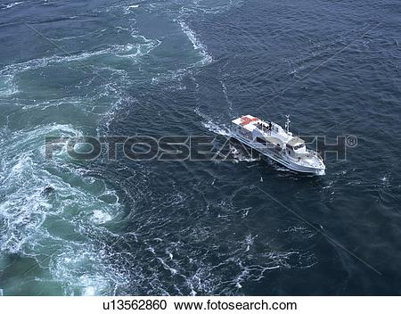 Stock Photography of Whirlpool, Naruto City, Tokushima Prefecture.