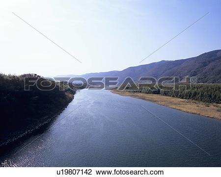 Stock Photo of Yoshino river, Yoshinogawa City, Tokushima.