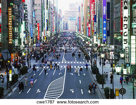 Picture of People on main street of Ginza in Tokyo cwe1787.