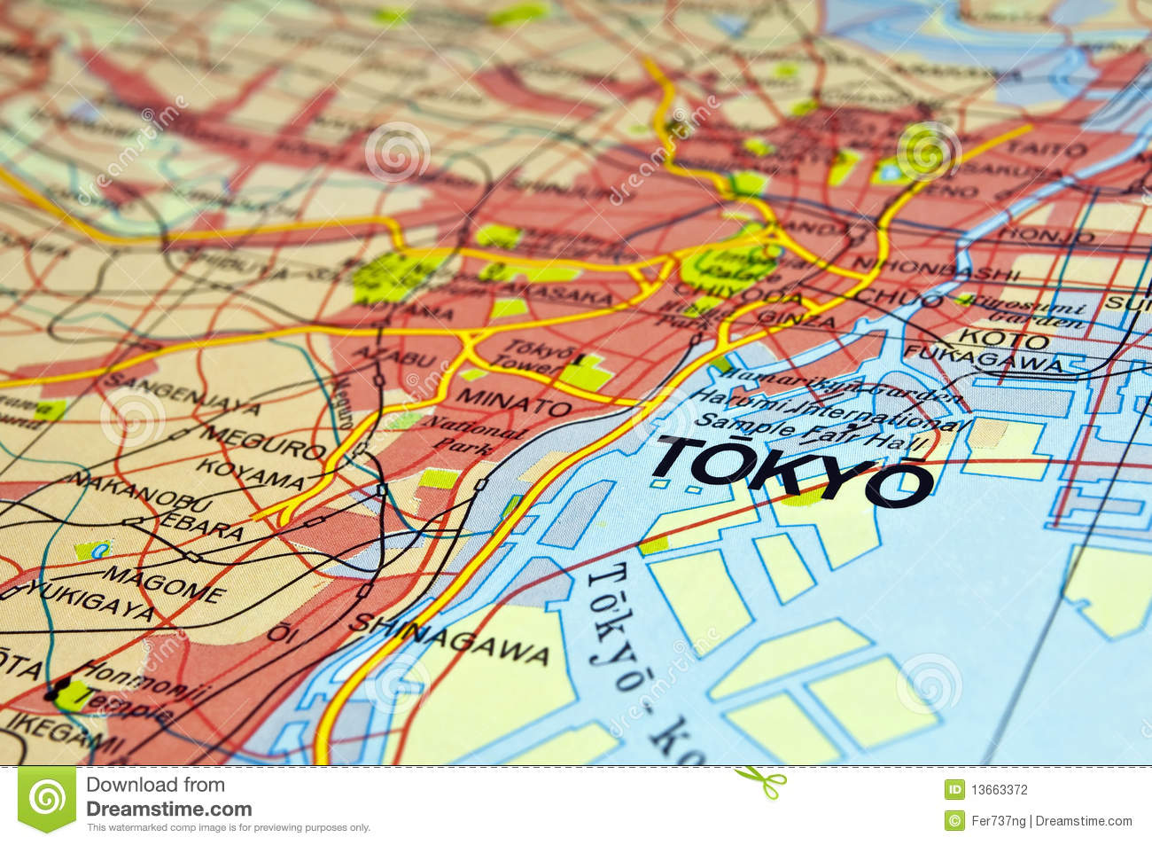 Tokyo Map Stock Photography.