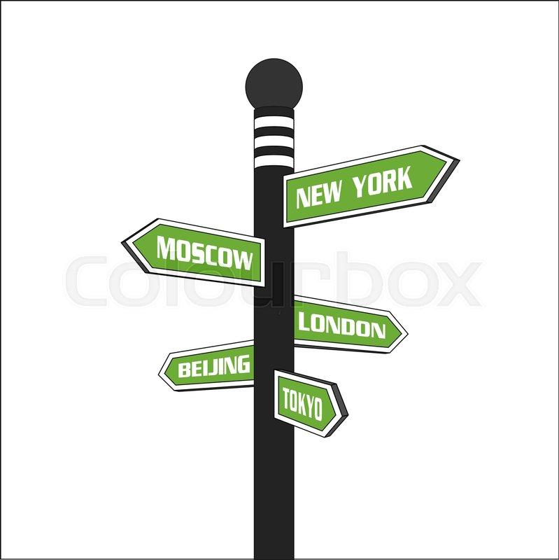 Big cities green signpost. Major cities direction signs: London.