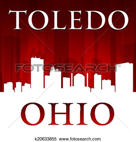 Clipart of Toledo Ohio city silhouette red background k20633855.