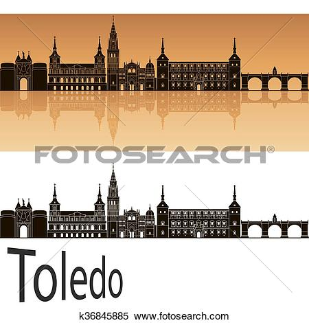 Clipart of Toledo skyline in orange k36845885.