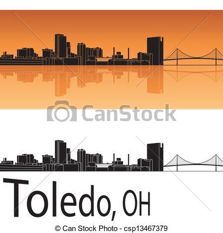 Vector Clip Art of Toledo Ohio city silhouette black background.