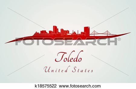 Clipart of Toledo OH skyline in red k18575522.