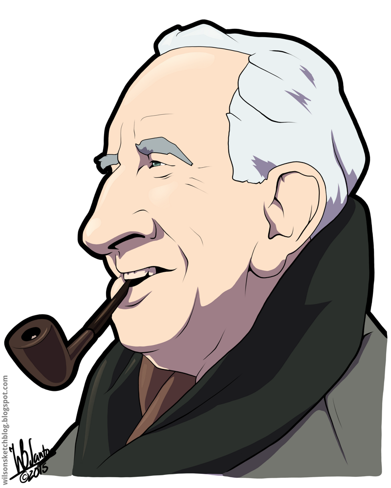 J. R. R. Tolkien (Cartoon Caricature).