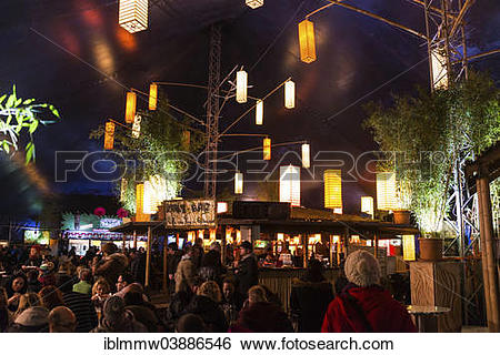 """Stock Images of """"Interior of a marquee or tent, Tollwood, Munich."""