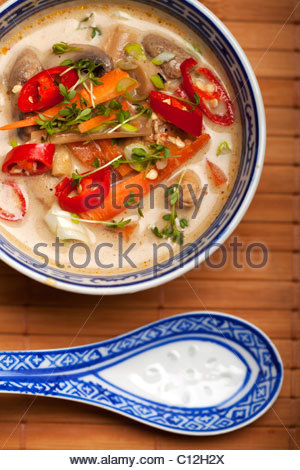 Thai Cuisine, Tom Kha Gai Or Thai Chicken Spicy And Sour With.