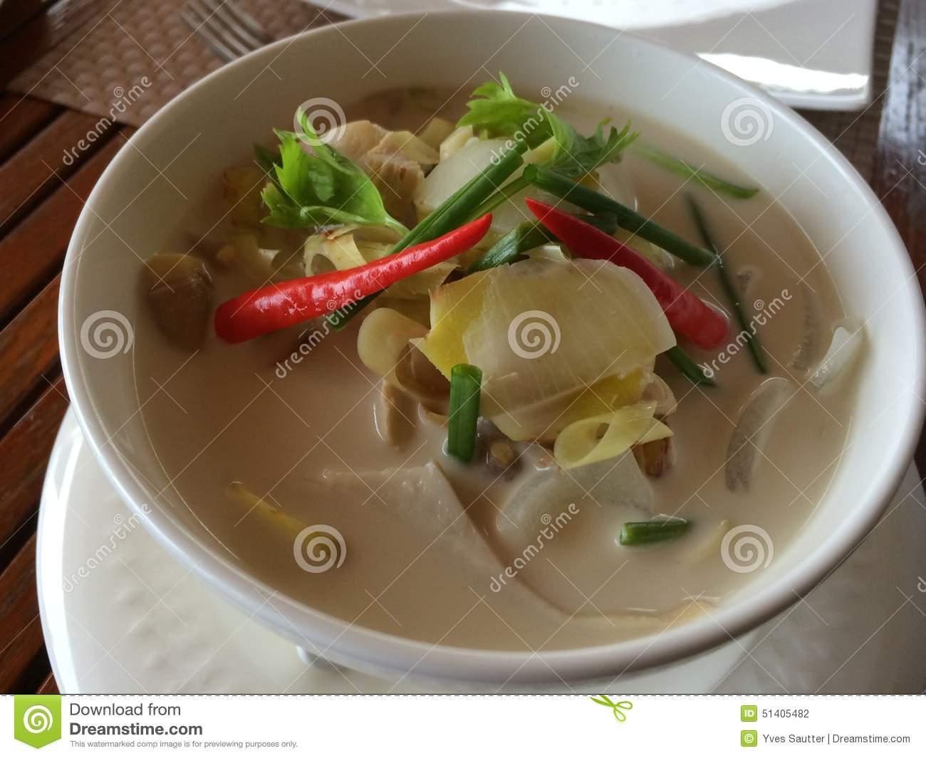 Thai Tom Kha Gai Chicken Soup Stock Photo.