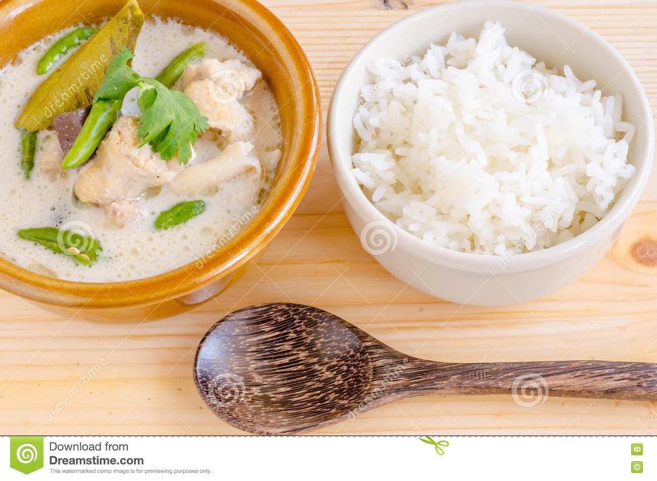 Thai Chicken Soup In Coconut Milk (Tom Kha Gai) Stock Photo.