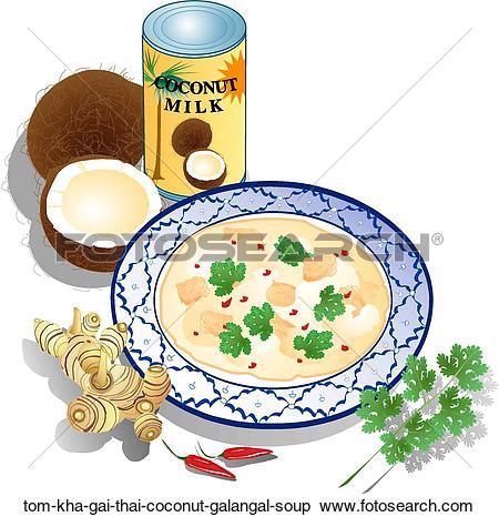 Stock Illustration of Tom Kha Gai (Thai Coconut & Galangal Soup.