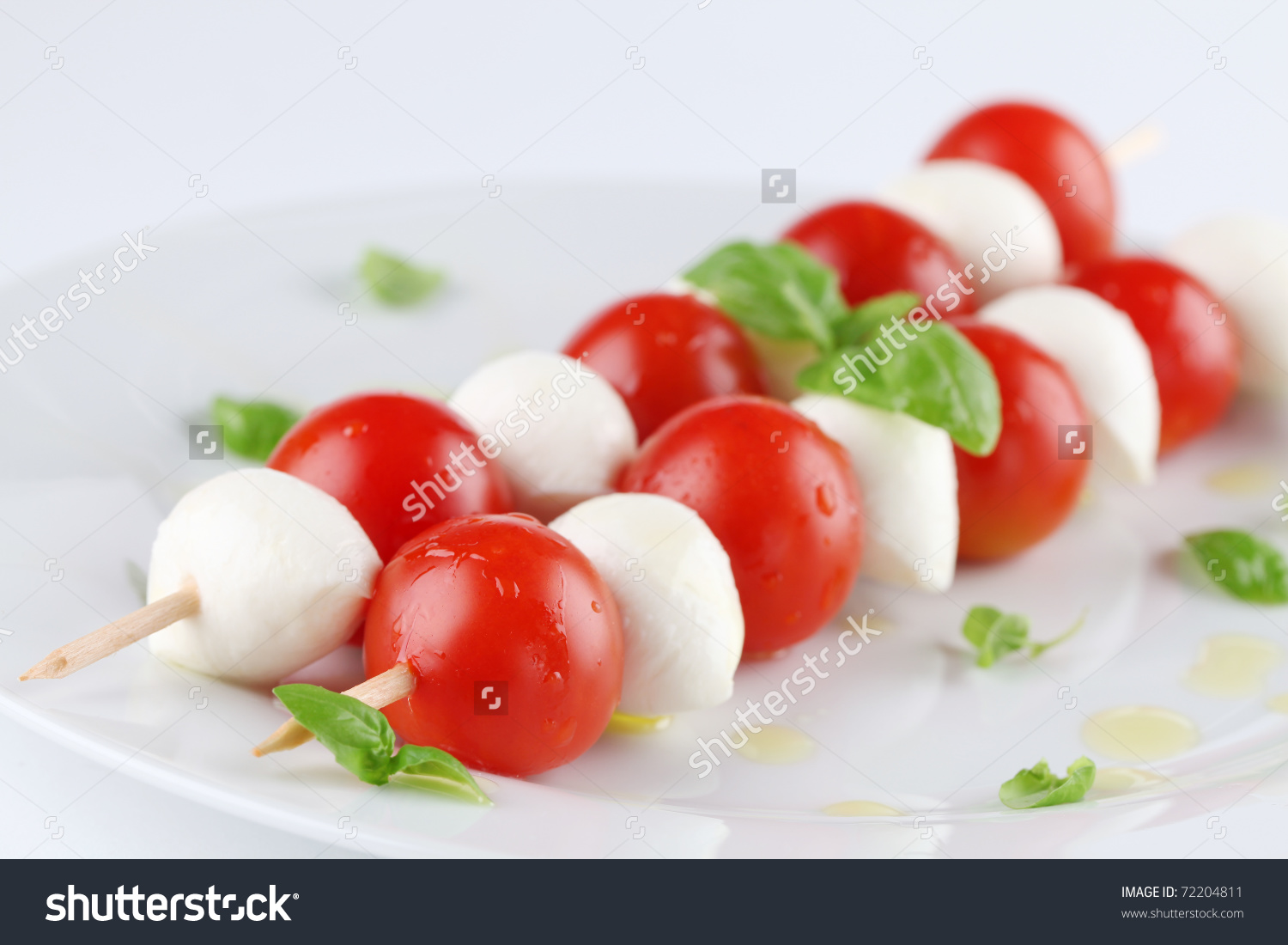 Caprese Salad Cherry Tomatoes Mozzarella On Stock Photo 72204811.