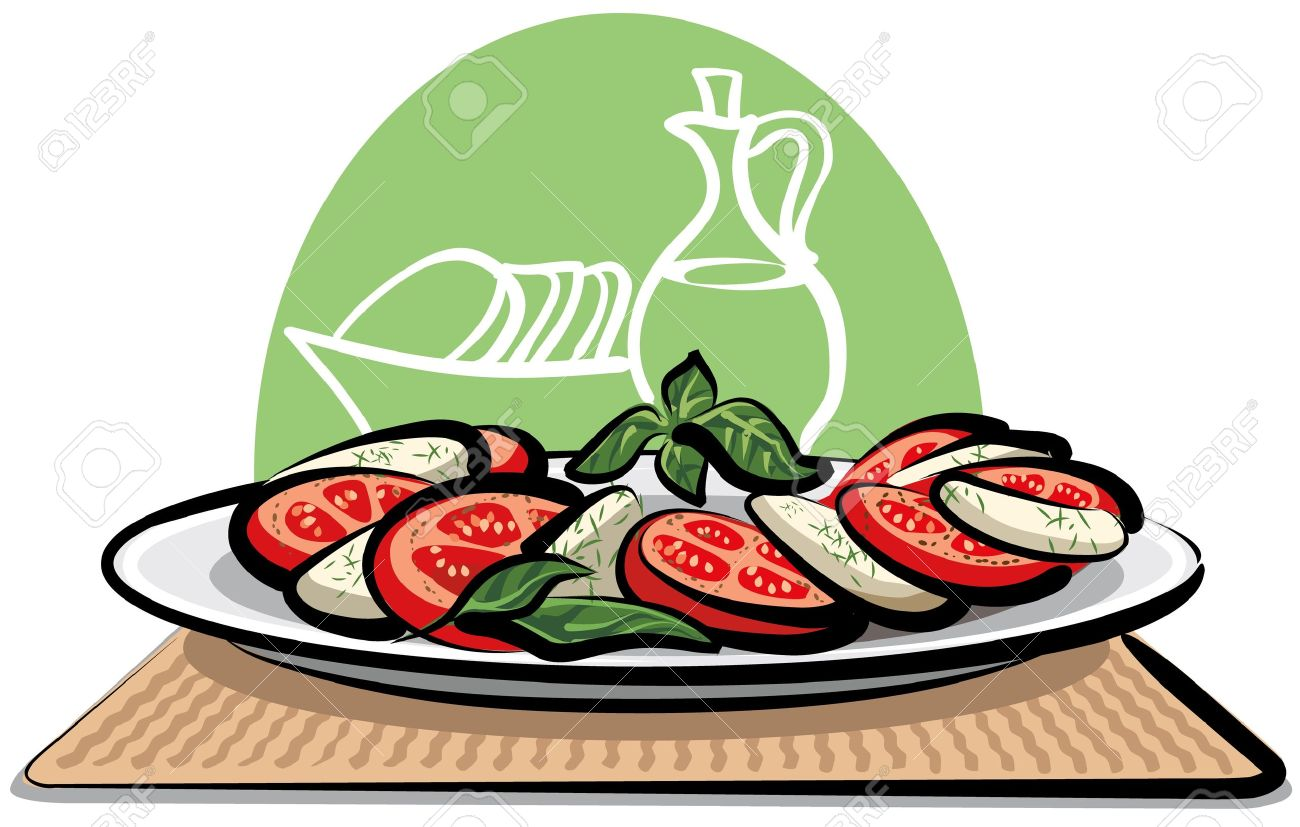 Salad With Tomatoes And Mozzarella Royalty Free Cliparts, Vectors.