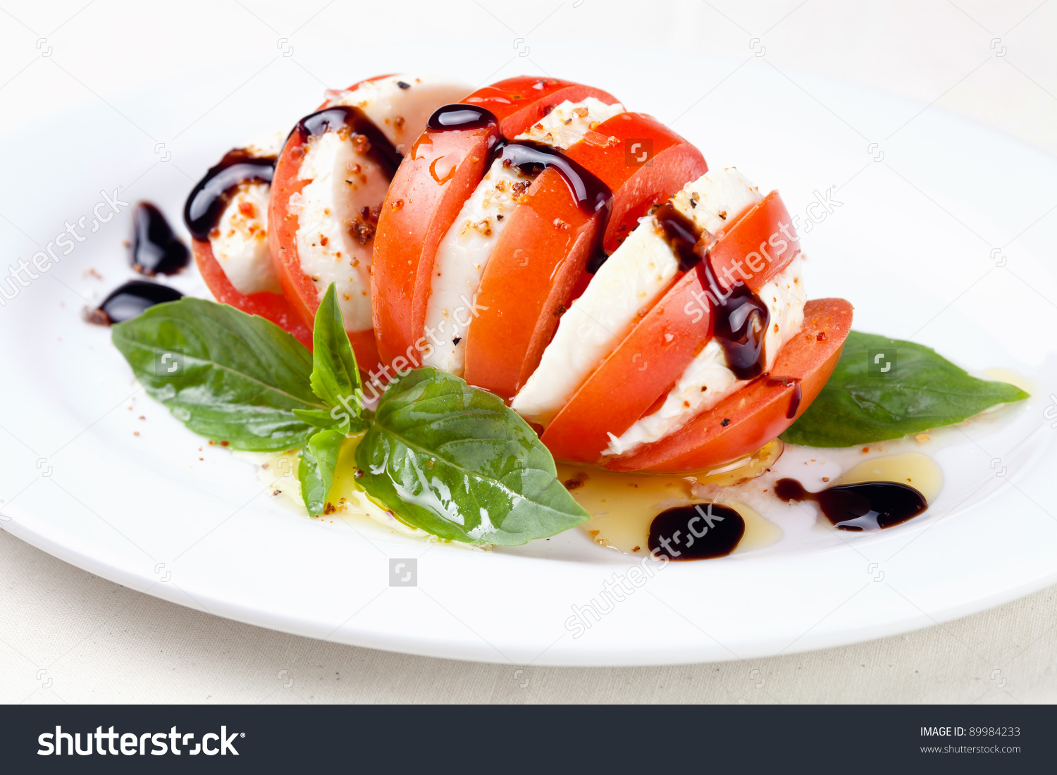 Caprese Salad Tomato Mozzarella Slices Basil Stock Photo 89984233.