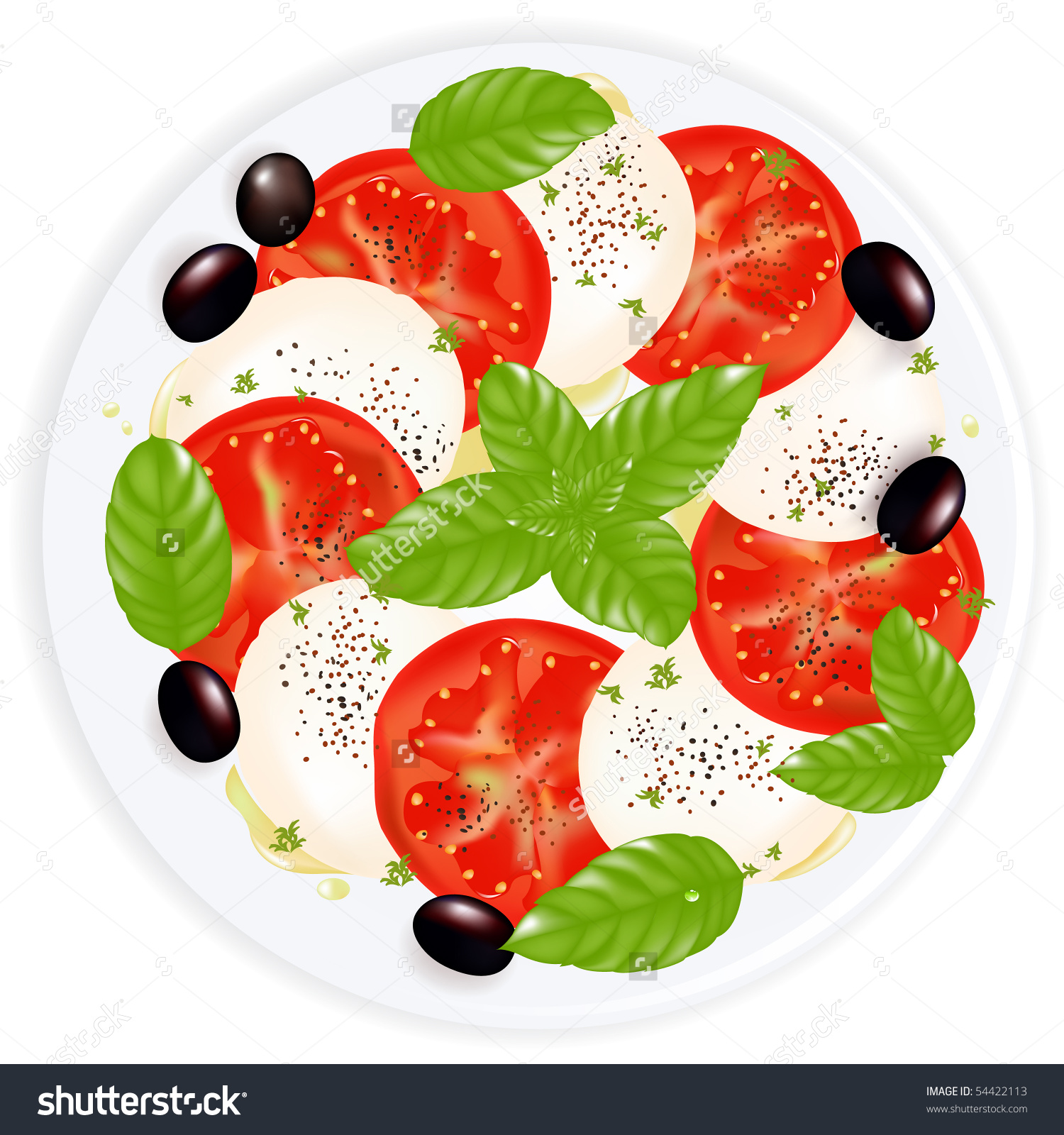 Caprese Salad Mozzarella Basil Black Olives Stock Vector 54422113.
