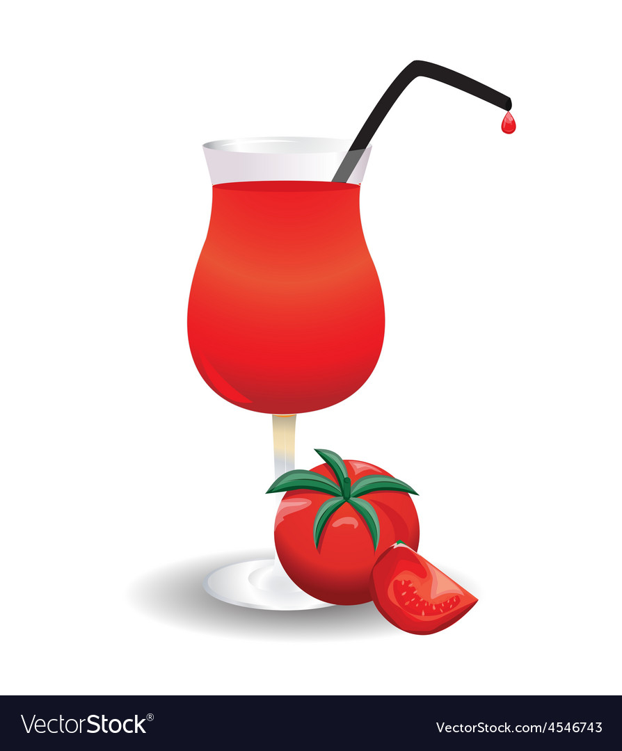 Tomato and a glass of tomato juice.