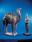 Stock Photograph of Painted pottery tomb figure of Hu People.