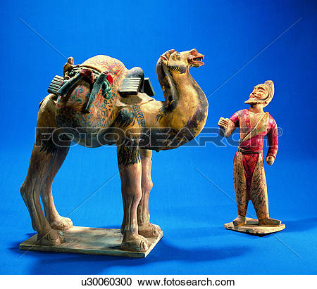 Stock Photography of Colored drawing tomb figure of Hu people.