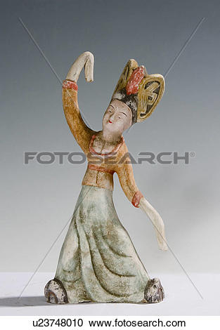 Stock Photography of Gray pottery of dancing tomb figure (Tang.
