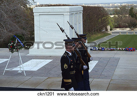 Stock Photography of Tomb of the Unknown Soldier in Arlington.