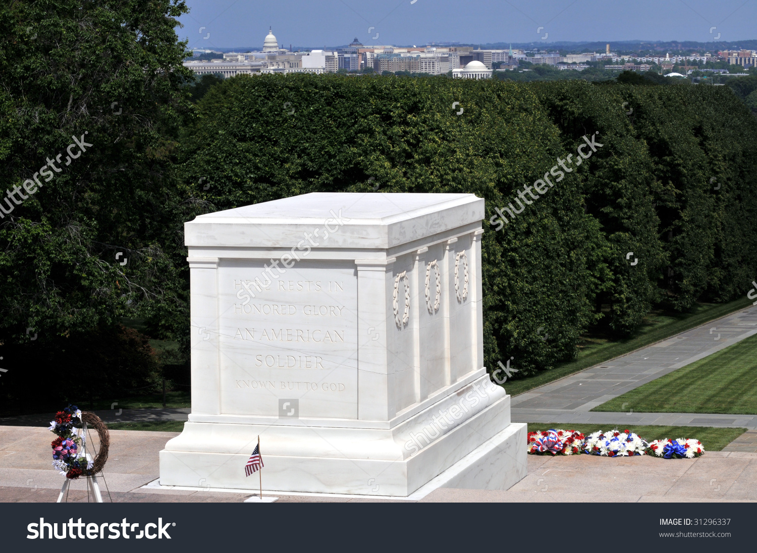 Tomb Unknown Soldier Arlington National Cemetery Stock Photo.