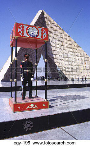 Stock Image of Guard at Tomb of the Unknown Soldier Cairo Egypt.