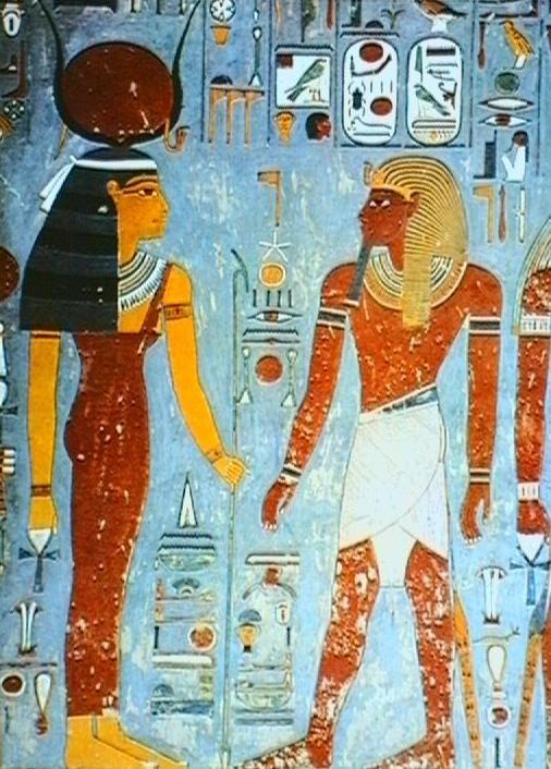 Thebes: Tomb of Horemheb: King Horemheb before the Goddess Hathor.
