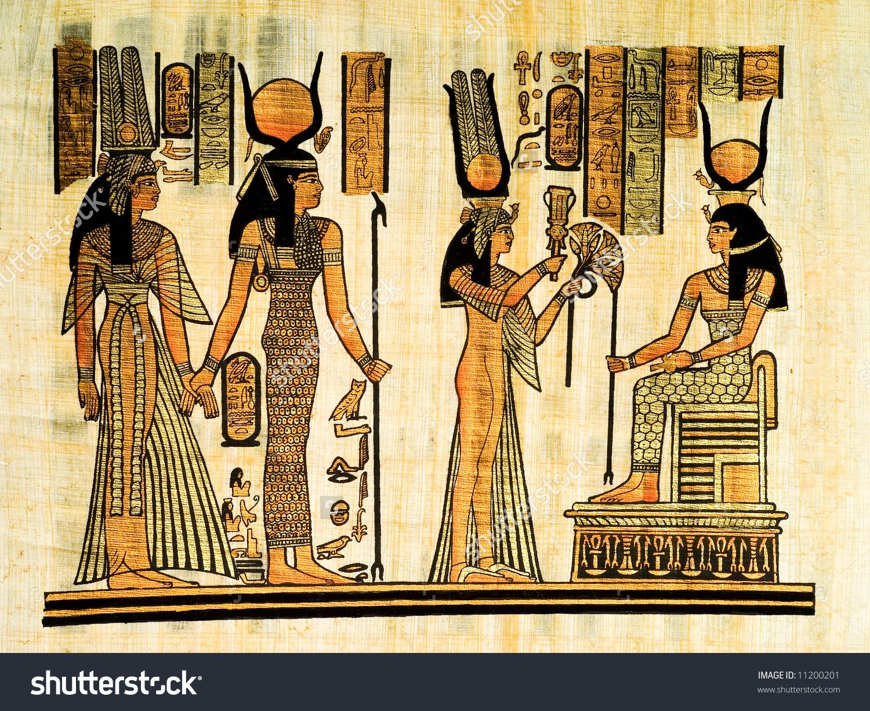 Egyptian Papyrus Showing Nefertari Isis Copy Stock Illustration.