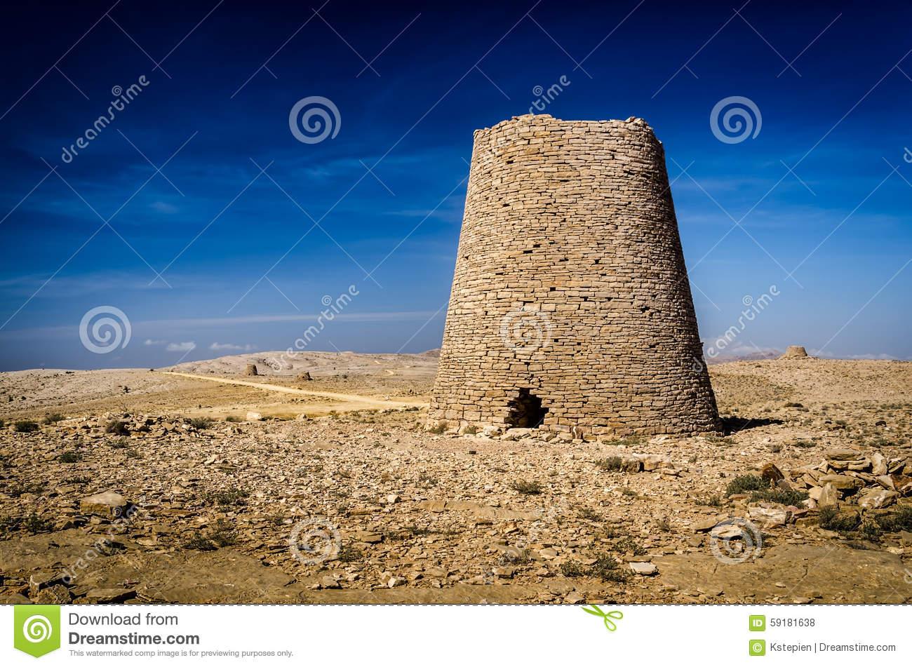 Prehistoric Tower Tombs At Shir / Jaylah Stock Photo.
