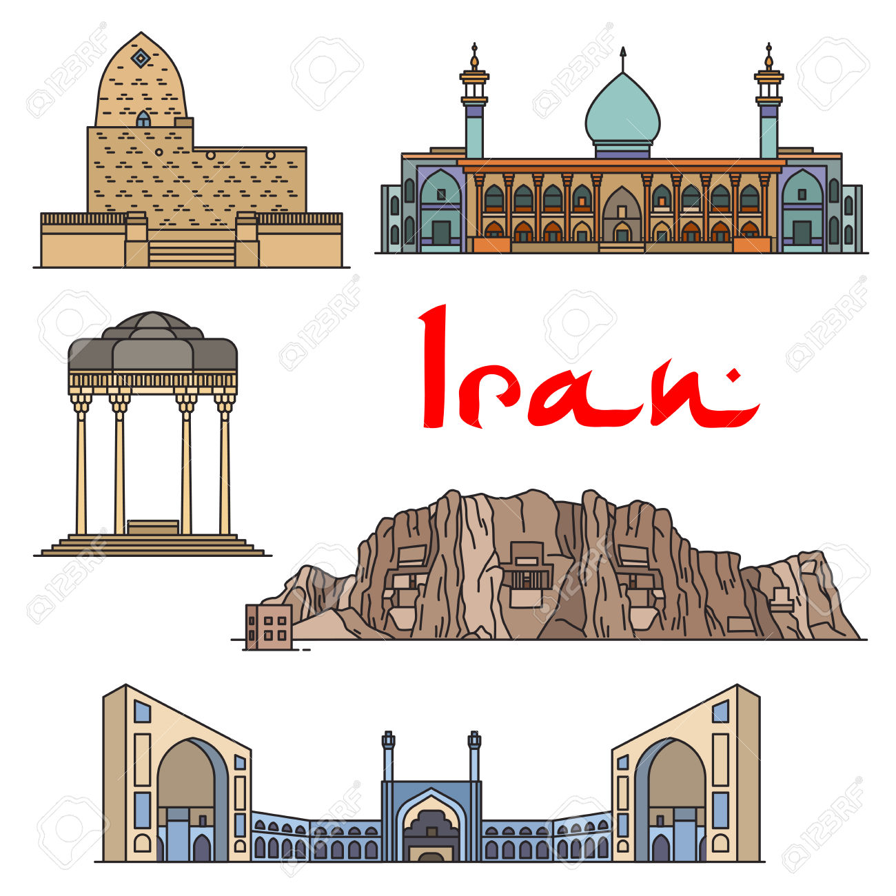 Iran Architecture And Sightseeings Vector Detailed Icons Of Tomb.