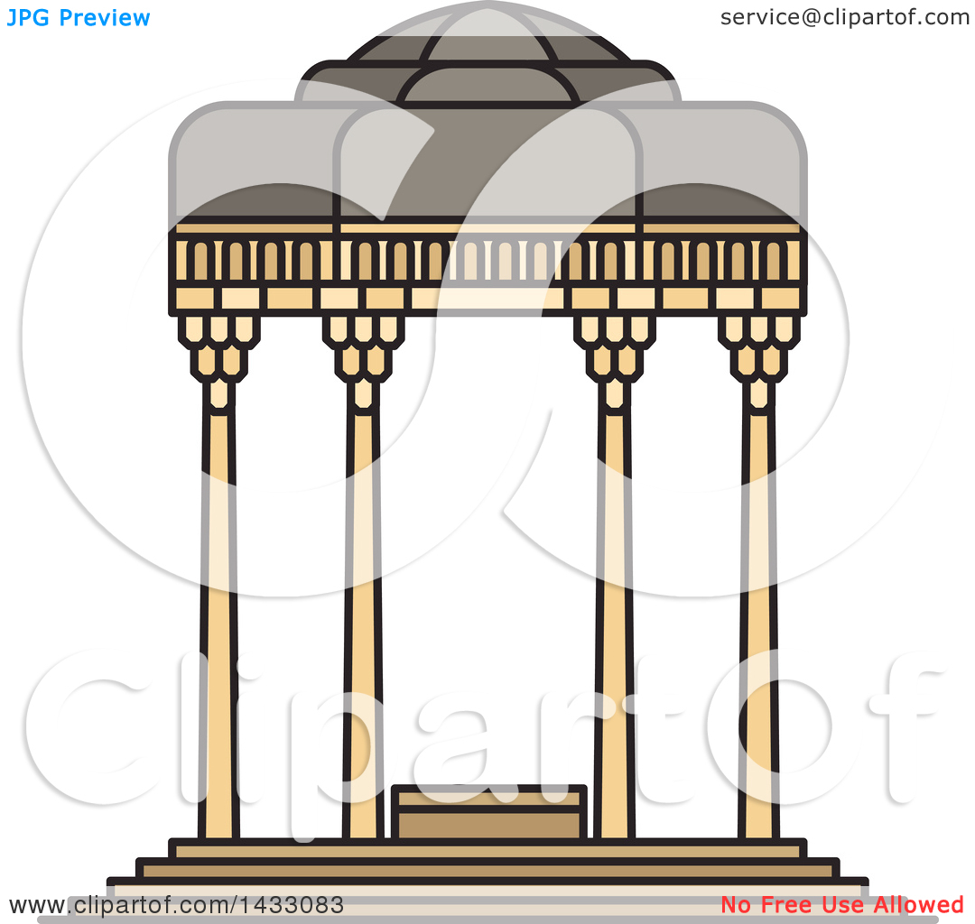 Clipart of a Line Drawing Styled Iran Landmark, Tomb of Hafez.