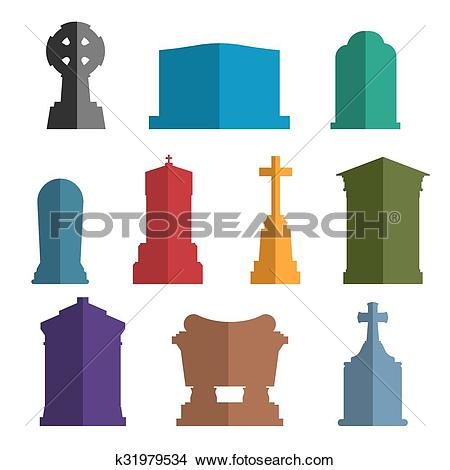 Clipart of Tombs stone grave vector construction set k31979534.