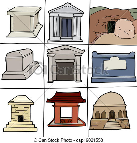 Clipart Vector of Various Tombs.
