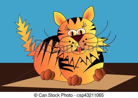 Clip Art Vector of cat, tiger, tomcat,.