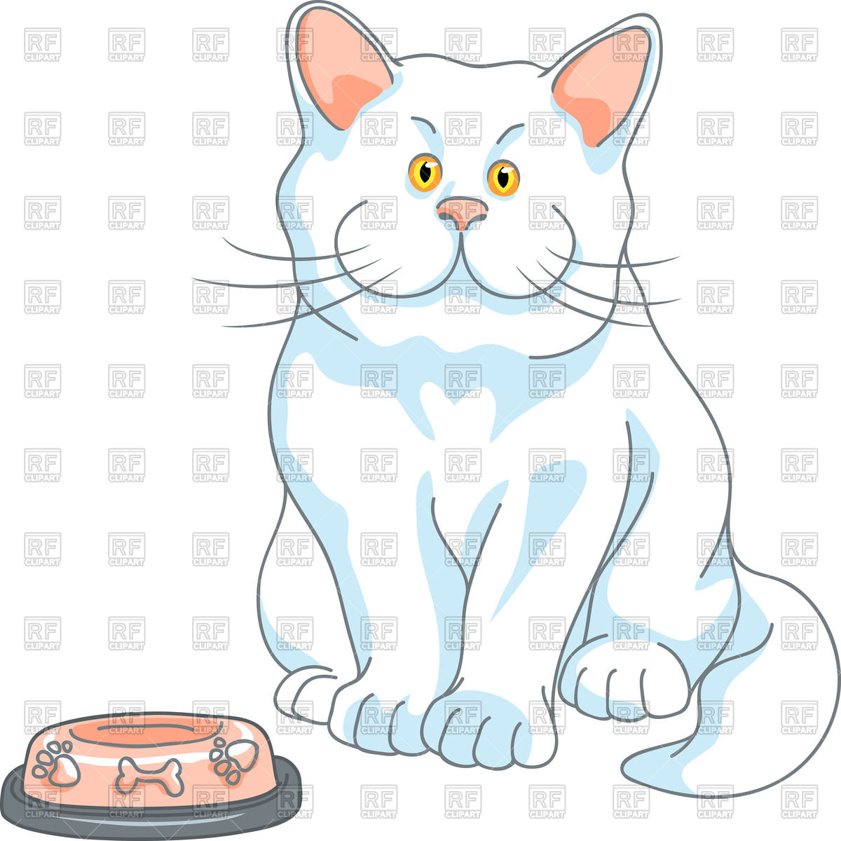 Hungry cat and empty bowl.
