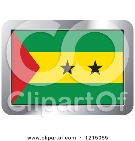 Clipart of a Sao Tome and Principe Flag and Silver Frame Icon.