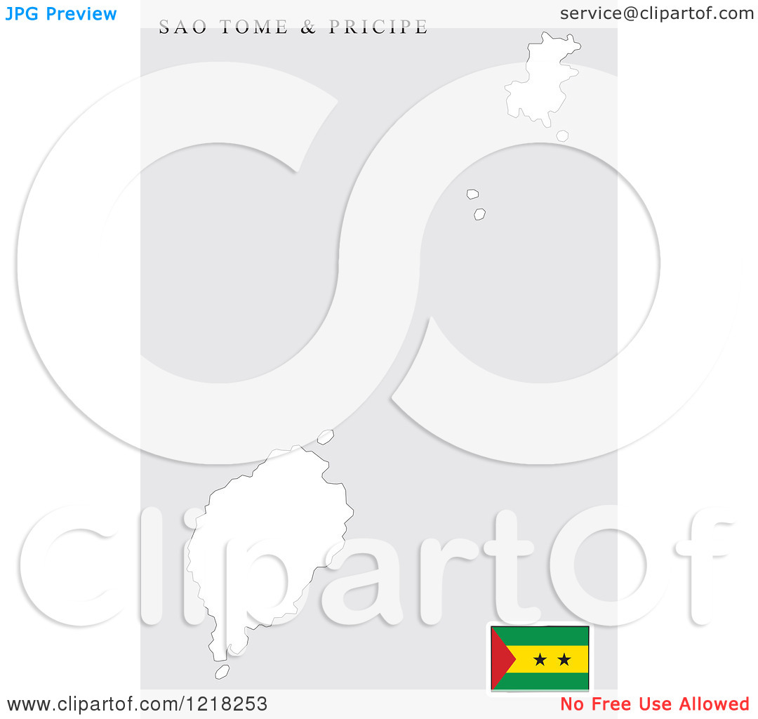 Clipart of a Sao Tome and Principe Map and Flag.