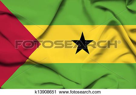 Clipart of Sao Tome and Principe waving flag k13908651.