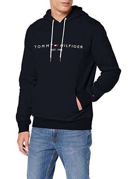Tommy Hilfiger Men\'s Jersey Logo Hoodie Blue (Sky Captain 403).