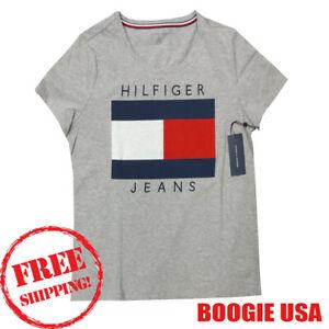 Details about Tommy Hilfiger SPORT Women\'s NWT Hilfiger LOGO Print 100%  Cotton T Shirt GREY L.