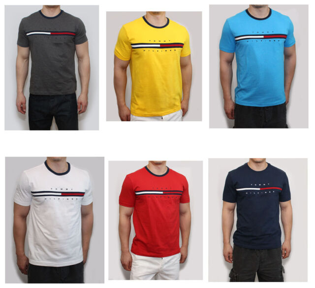 New Tommy Hilfiger Men Classic Fit Crew Neck Logo Tee Shirt T Shirt.