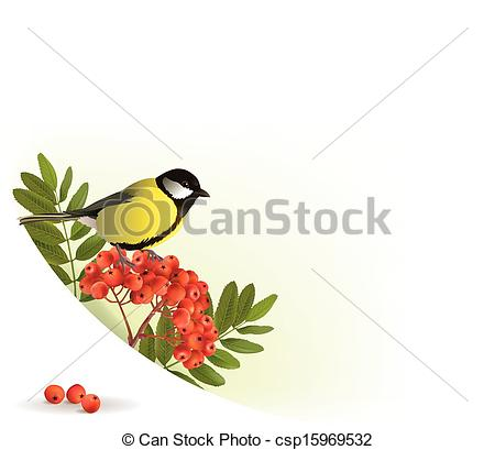 Vectors of Corner banner with rowan and tomtit. Contains.