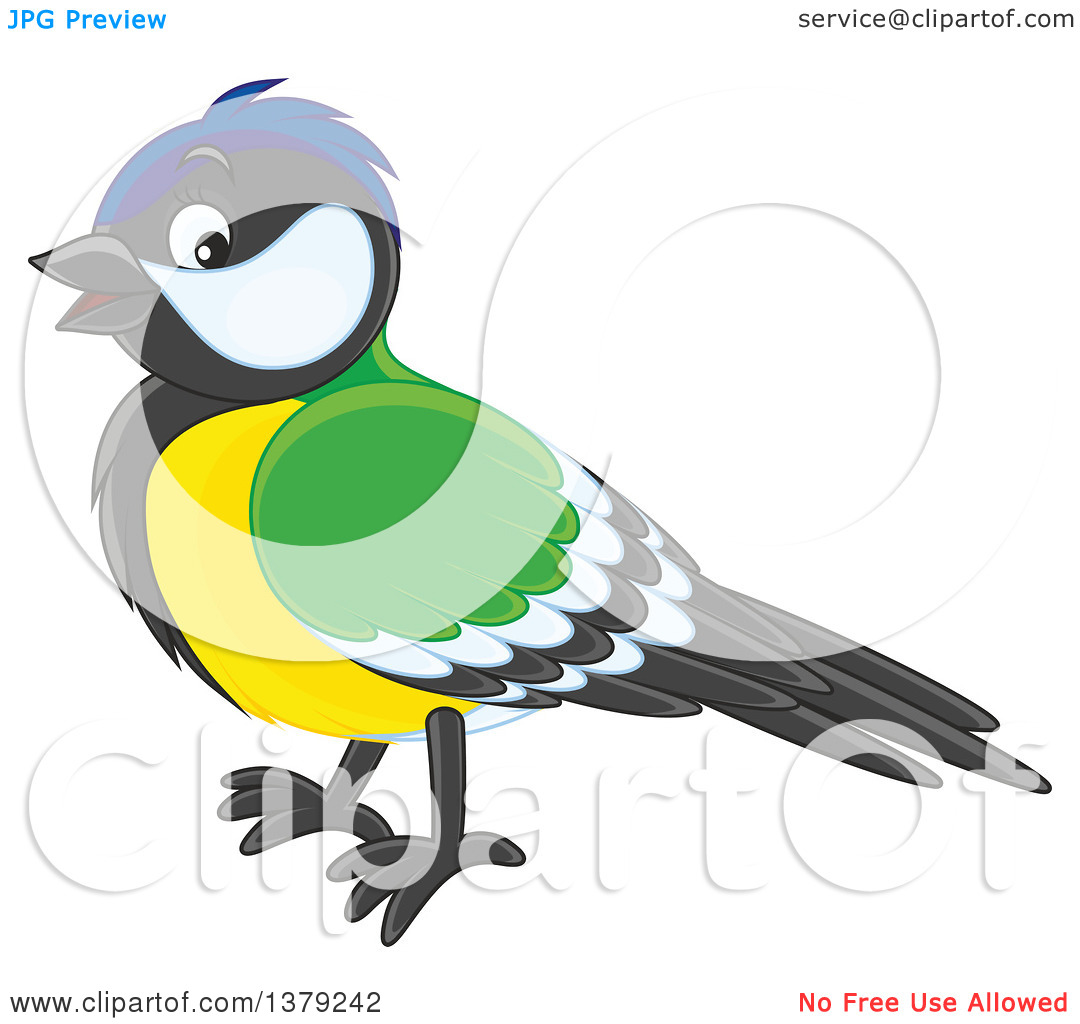 Clipart of a Tomtit Bird in Profile.