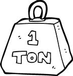 one ton weight Clip Art.