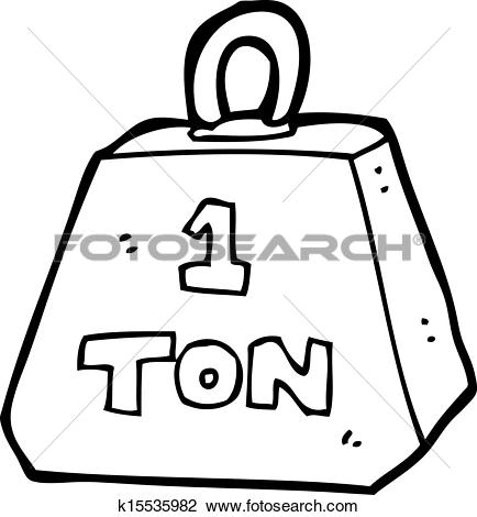 Clipart of cartoon one ton weight k15535982.