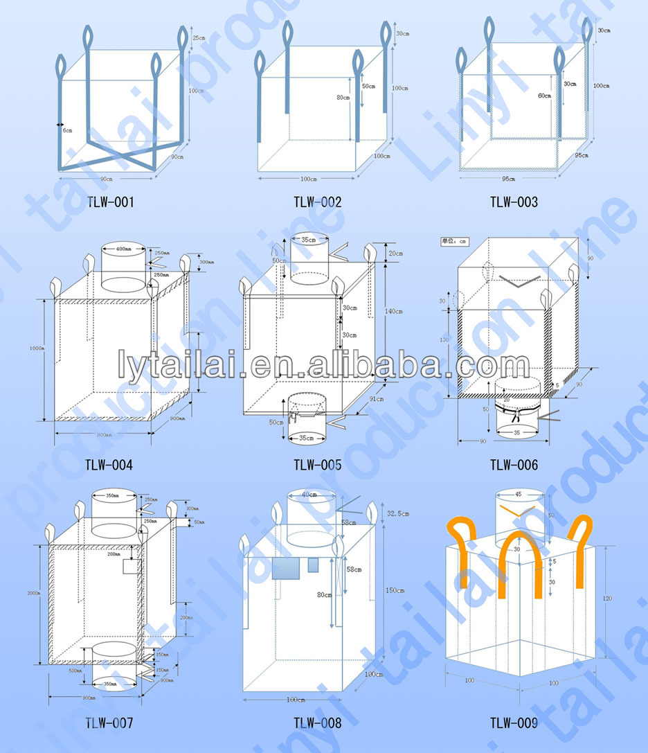 plastic 1 ton big bags 1000kg top fill skirt for japan market.
