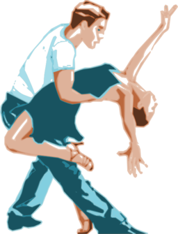 Dancers In Two Tone Color Clipart.
