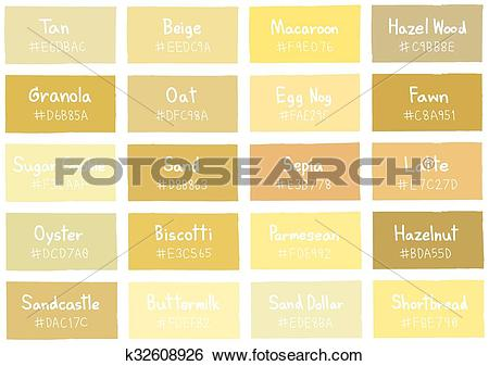 Clip Art of Tan Tone Color Shade Background with Code and Name.