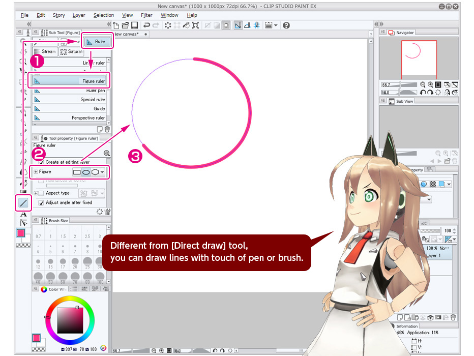 Draw with ruler.